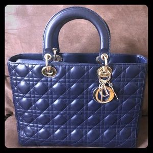 LADY DIOR Large navy blue